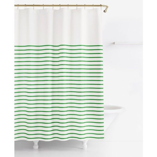Kate Spade New York Harbour Stripe Shower Curtain ($50) ❤ Liked On Polyvore  Featuring Home, Bed U0026 Bath, Bath, Shower Curtains, Picnic Green, Kate  Spade, ...