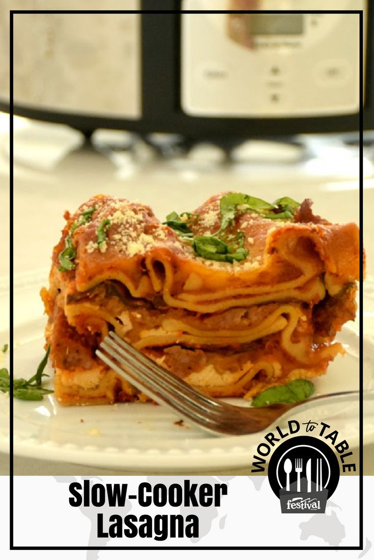 With all the rich, cheesy, saucy goodness of traditional lasagna, but with the convenience of a slow cooker and the nutritional boost of whole grain noodles and baby spinach, this slow cooker lasagna packs layers of deliciousness – literally! #slowcooker #dinnerrecipes #familyfavorites #kidfriendly #Italian #wholegrain #lasagna #classics #worldtotable