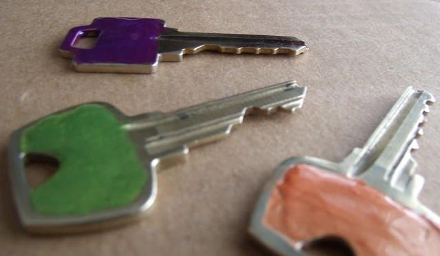 Easy Key Color Codes | Here's a simple organizational idea: color code your keys so telling them apart is a breeze.