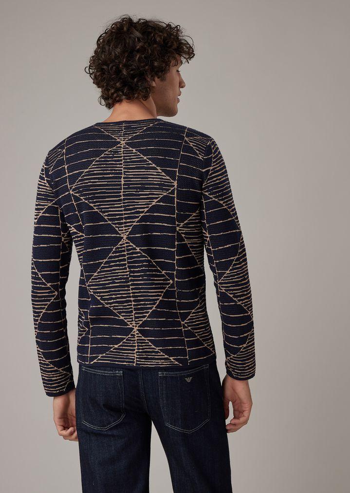 cb17d80a24 Giorgio Armani Sweater With Two-Tone Geometric Jacquard in 2019 ...