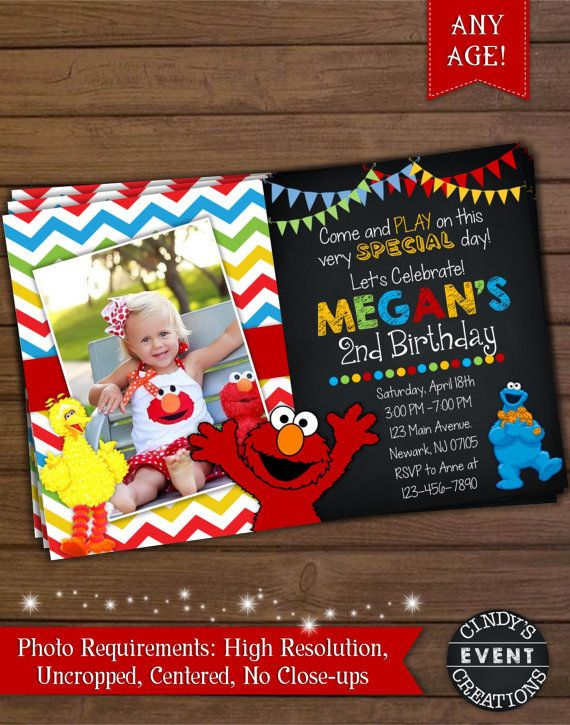 Sesame Street Birthday Invitation Elmo by CindysEventCreations