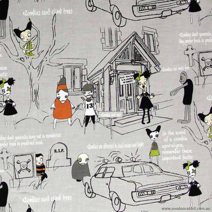 Zombie Apocalypse Rules For Survival Grey Cotton Fabric by Riley Blake | Voodoo Rabbit Fabric, East Brisbane Australia