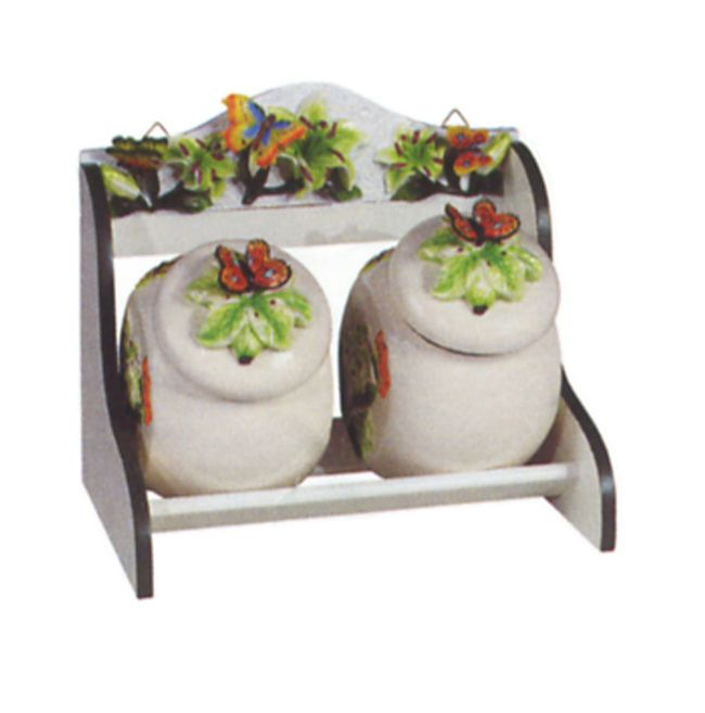 Butterfly Kitchen Decor Themes Butterfly 3 D 2pc Cookie Jar With Wood Rack Holder