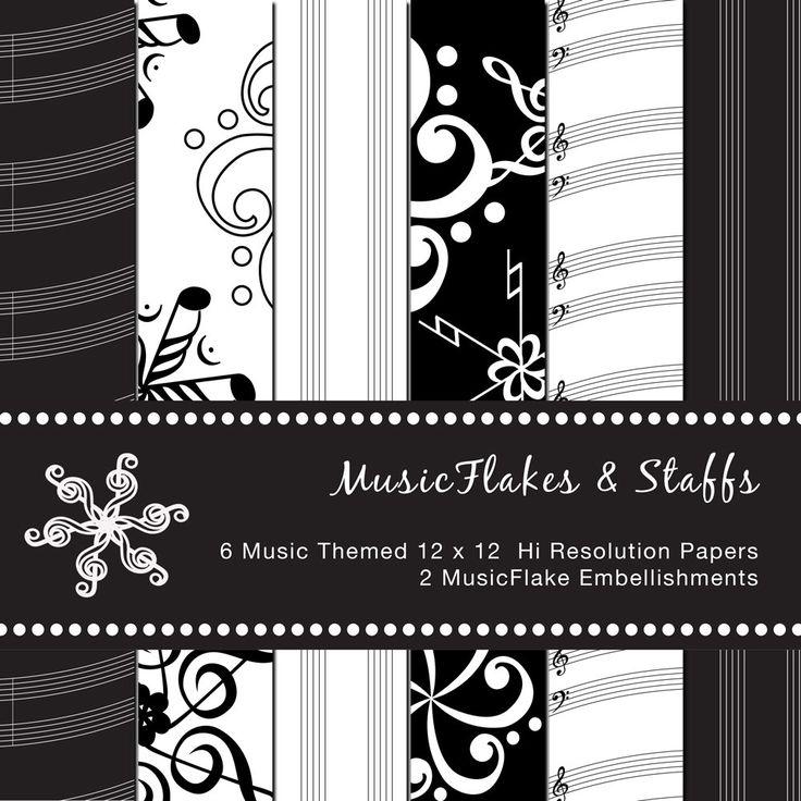 MusicFlakes & Staff Digital Scrapbook Paper by GreetingsFromLisa on Etsy