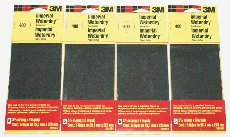 4 LOT - 3M IMPERIAL WET OR DRY 400 GRIT SANDPAPER 20 SHEETS SAND PAPER 5920ES #3M