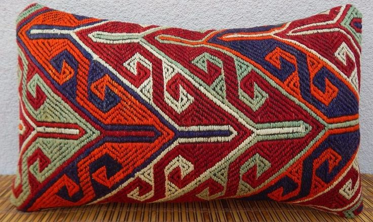 12x20'' Primitive Country Decor Vintage  Woven Turkish Kilim Lumbar Pillow Cover #Handmade