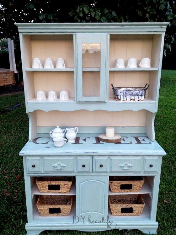 Old hutch becomes a beautiful and functional coffee bar | DIY beautify
