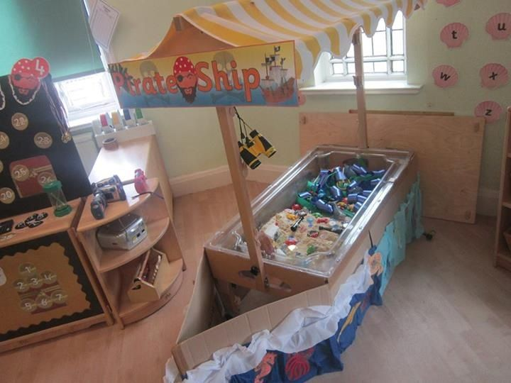 I used our sand tray to turn in to a pirate ship with a treasure island inside.