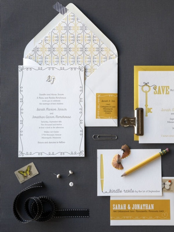 Simple and fun wedding stationary; the actual invite is a little lame for my taste, but I really like everything else!