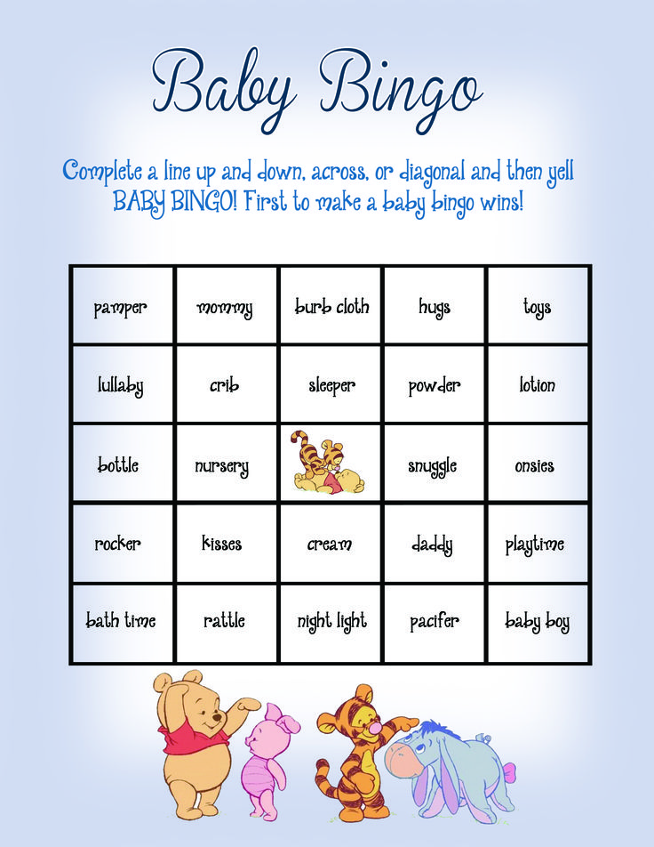 Baby Bingo Baby Shower Game Winnie the Pooh Theme