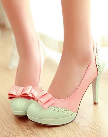 pink and green retro inspired bow heel