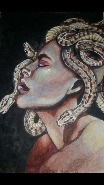 """""""Beauty of envy"""" mixed media Medusa interpretation by artist: Lisa Brett @woolybutt.designs"""