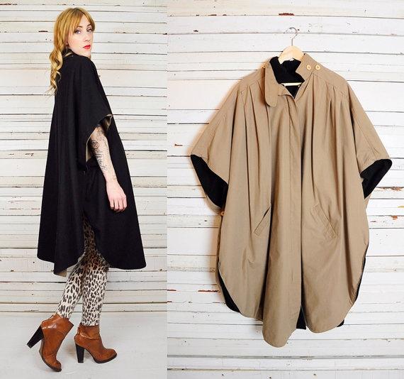 vintage 80s WOOL reversible cocoon DRAPED swing CAPE cloak avant garde coat scalloped jacket
