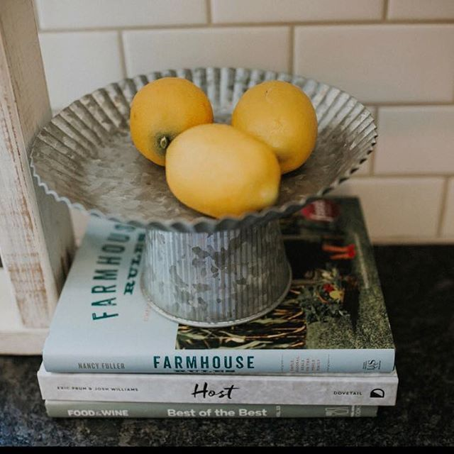 It's a BARN BURNER this week!!! Temps of 107. This hot weather calls for lemonade and sprinklers!  #summerdays #lemonade #kitchen #decorate #subwaytile #cooking #farmhouse #cookbooks #lemons #pedalhomeinteriors