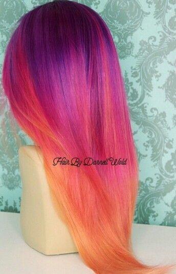 Purple orange ombre hair color