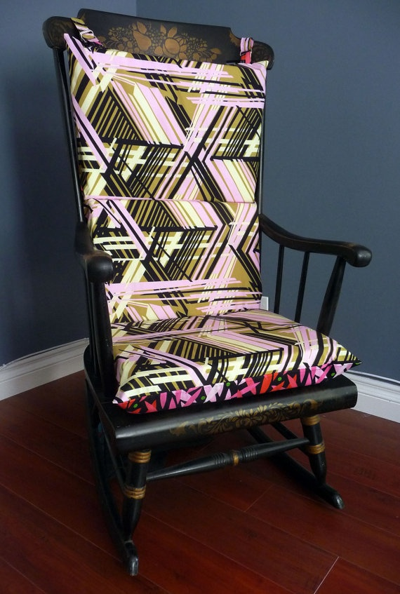 ON SALE Reversible Rocking Chair Cushion Hot Sticks By RockinCushions,  $49.00