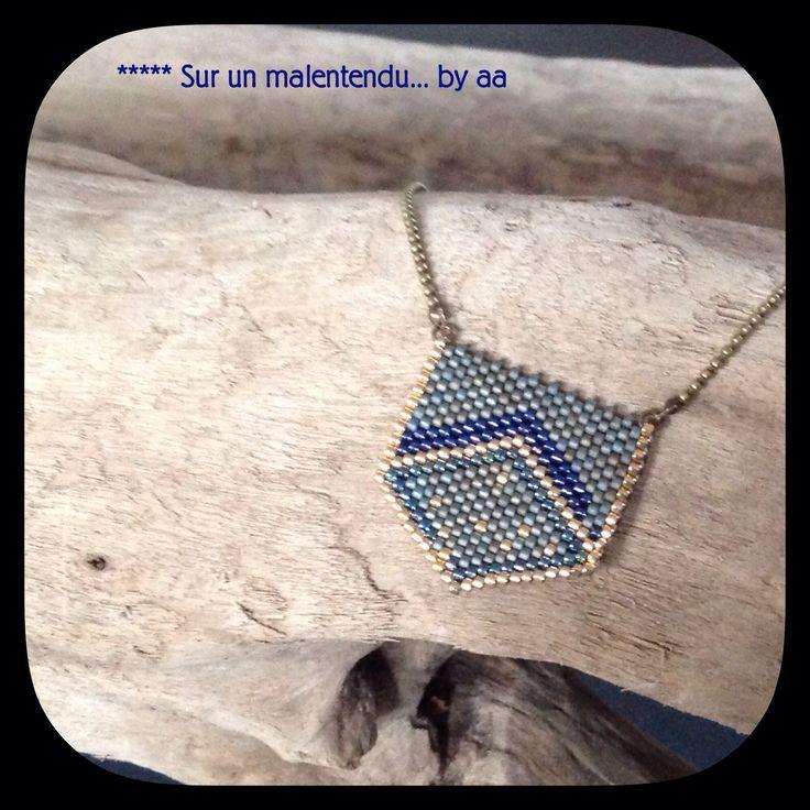 Collier miyuki bleu gris