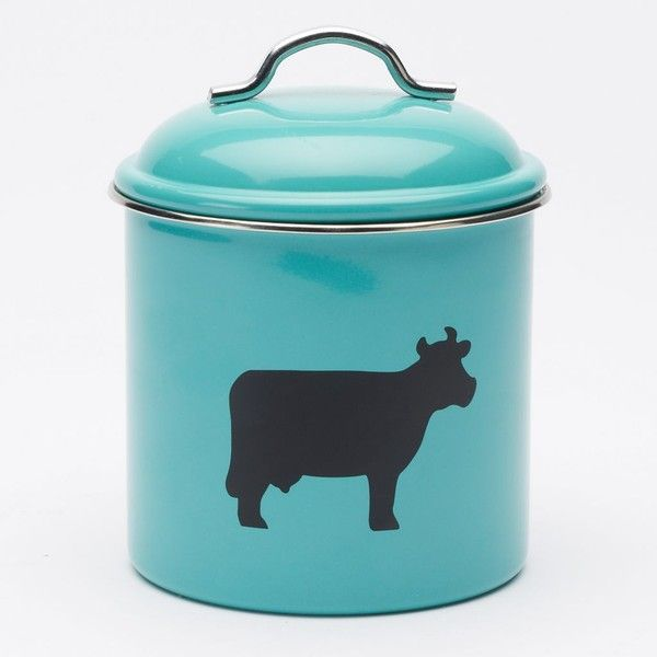Food Network Medium Cow Canister (Blue) ($14) ❤ liked on Polyvore featuring home, kitchen & dining, food storage containers, blue, food canisters, blue canisters and country canisters