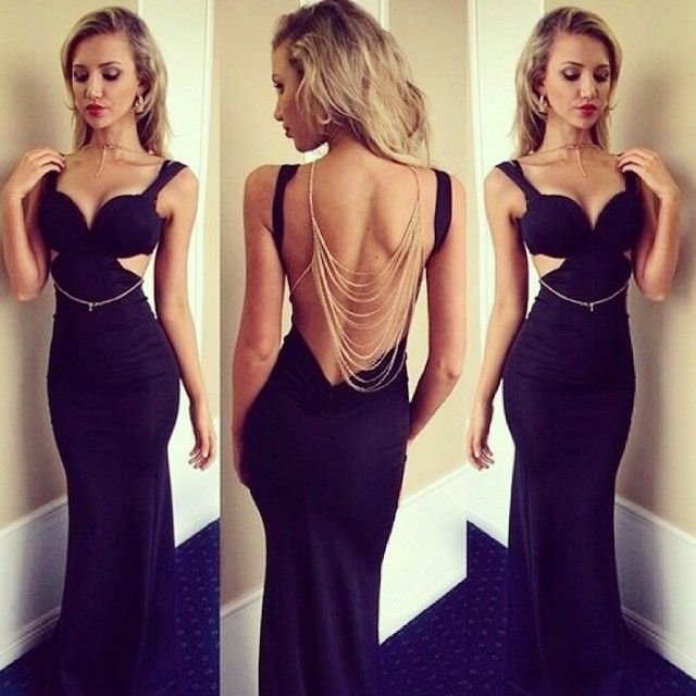 Black, sleek, fitted, cut out
