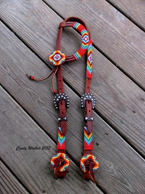 Custom Hand Beaded Horse Tack and Dog Collars by Cindy Walker