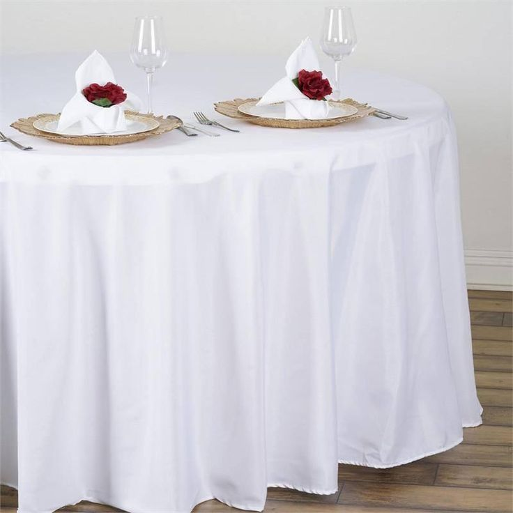 """108"""" WHITE Wholesale Polyester Round Tablecloth For Wedding Banquet Restaurant"""