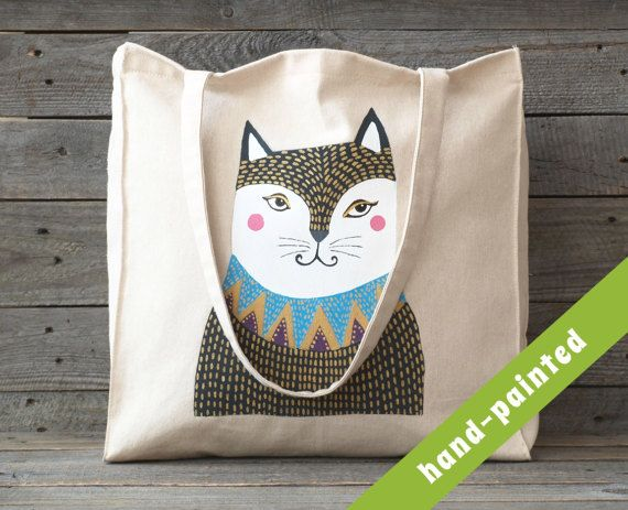 cat purse / cat tote bag/ cat lover gift/ totes / by tsomoriri