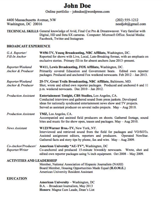 Example Resume for Broadcast Journalism - http\/\/resumesdesign - broadcast journalism resume