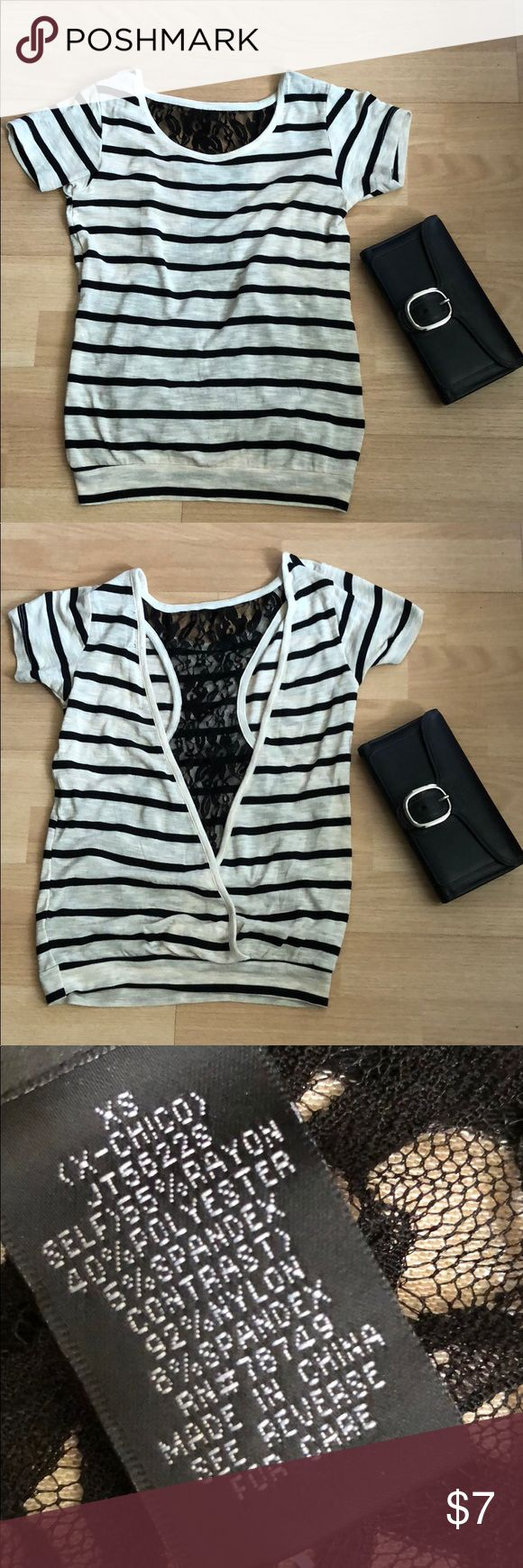 Striped Top Beige and navy striped top with black lace racer back Wet Seal Tops Tees - Short Sleeve