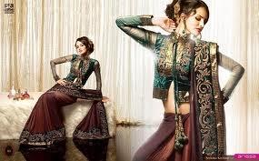 brown gold green sari by Archana Kochhar