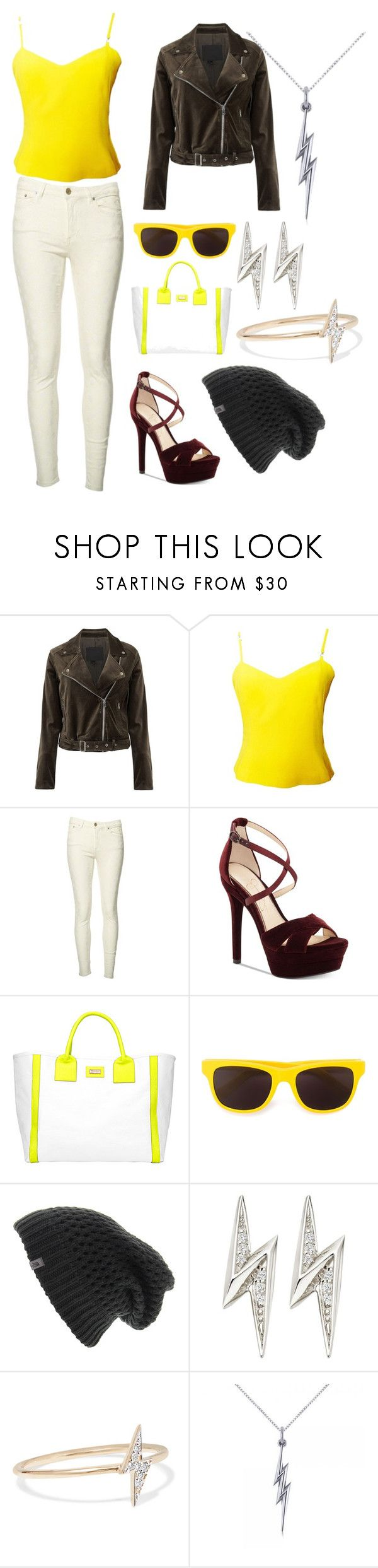 """Jolteon inspired"" by monsterhug-ej ❤ liked on Polyvore featuring Paige Denim, Versus, Acne Studios, Jessica Simpson, Stephanie Johnson, Moschino, The North Face, Astley Clarke, I+I and Allurez"