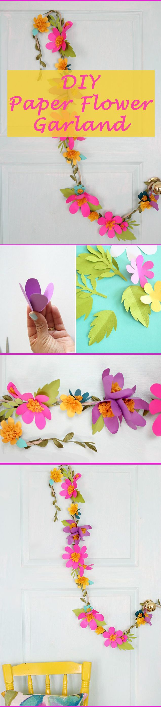 Small paper flowers craft - Add Bright Colorful Decor With This Paper Flower Garland A Great Addition For Little
