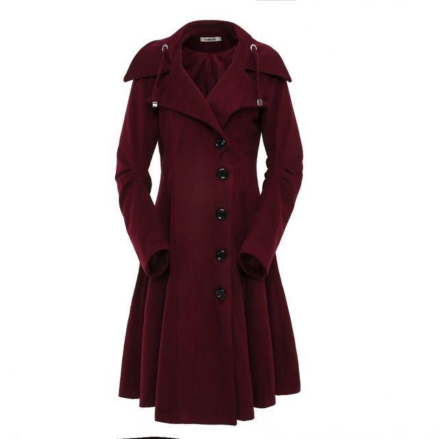 Sale Today $62.47, Buy ForeMode Turn-down Collar Single Breasted Slim Coats Women Winter Overcoat 2016 Women Irregular Hem Female S- XXL