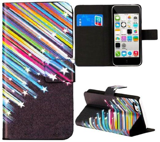 Bekijk alle stijlvolle iPhone hoesjes - #leather iphone case and card holder | myLife Black and Rainbow {Falling Stars Design} Faux Leather (Card, Cash and ID Holder + Magnetic Closing) Slim Wallet for the iPhone 5C Sma... - http://www.ledereniphonehoesjes.nl