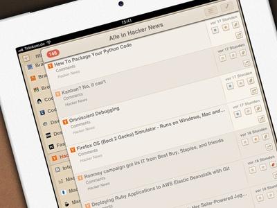 Mr Reader RSS App Theme Portrait View (WIP)