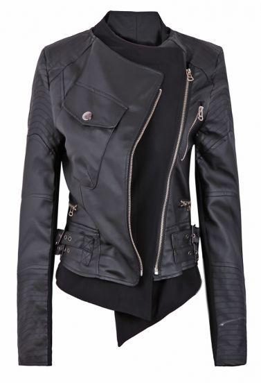 Black Zipper Embellished Faux Leather Biker Jacket