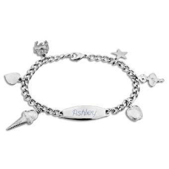 021674 - Girls Multi-Charm ID Bracelet | Things Engraved ™