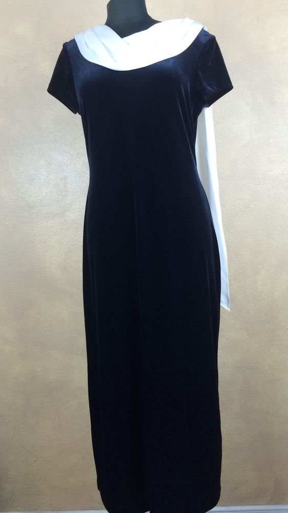 Connected Apparel Black Velour DRESS w Attached Ivory Satin ScarfMidi Size 12  #ConnectedApparel #Shift #Formal