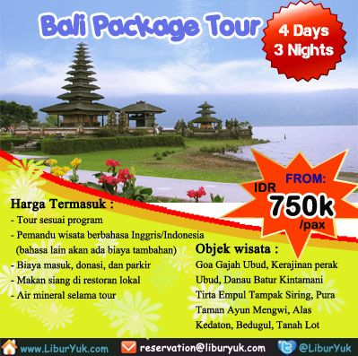 Bingung ingin jalan – jalan kemana saja selama di #Bali? Kini sudah tersedia paket 4 hari Bali Package #Tour dengan harga terjangkau lho. Buruan booking sekarang juga sebelum kehabisan!  Dapatkan Spesial Paket tersebut dari #LiburYuk http://liburyuk.com/bookitem/146/2014-06-07/Bali-Package-Tour-4-Days-3-Nights #jalan2 #holiday #AbbeyTravel
