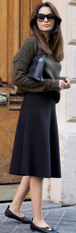Funda Christophersen + cute fall outfit + cropped knit sweater + knee length black skirt +vintage style flats + smart and sophisticated + suitable for any occasion Sweater: Second Female, Skirt: Cos, Shoes: Celine, Bag: Loewe.
