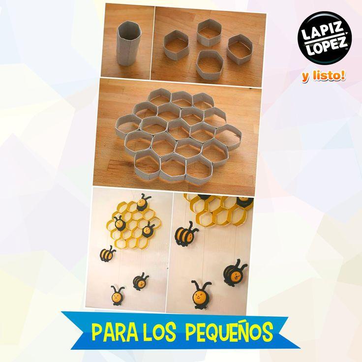 Utiliza todos esos rollos de papel higiénico que sobran para hacer este móvil con abejas.