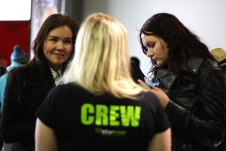 BFI: Jasmine Taggart talking to a #starnow member at the BFI Future Film Festival.