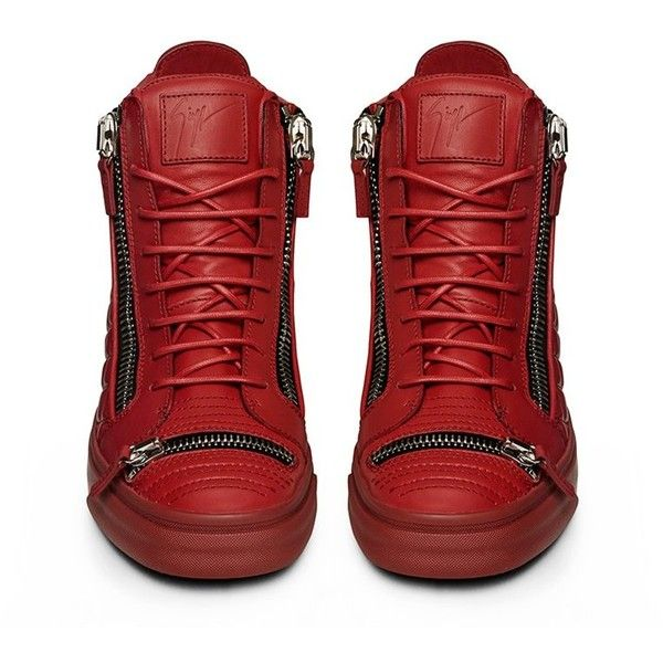Giuseppe Zanotti X Sneakerboy Exclusive Red Leather London Mid Top... (€1.250) ❤ liked on Polyvore featuring shoes, sneakers, giuseppe zanotti shoes, red trainers, red sneakers, red leather shoes and red leather sneakers
