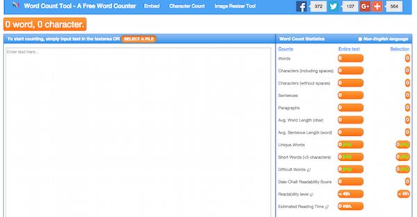 Word counter tool provides an extensive report about word count & character count statistics for a given text