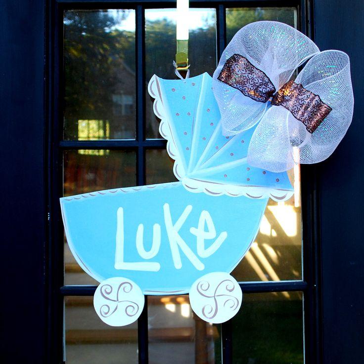 Baby boy hospital door decoration baby carriage baby boy for Baby shower door decoration