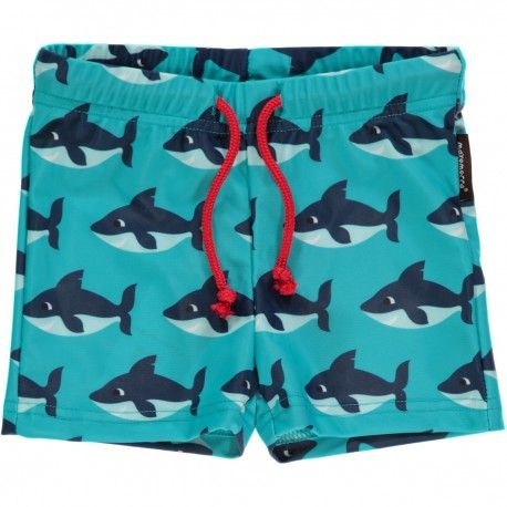 Swimtrunks, UV-protection, sharks turquoise, Maxomorra