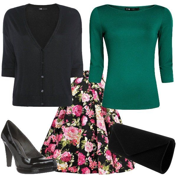 Total look da donna composto da cardigan corto black con manica a 3/4 e scollo a v, gonna a ruota vita black fantasia floreale e maglia in cotone basic green con scollo a barca e manica a 3/4. Completo il tutto con una décolleté black con tacco a cono e una pochette nera in velluto stile retrò.