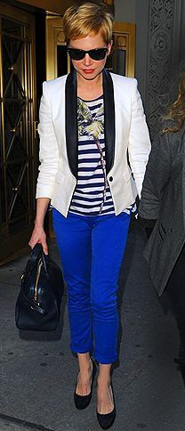 Such  a great outfit. Bright blue pants.