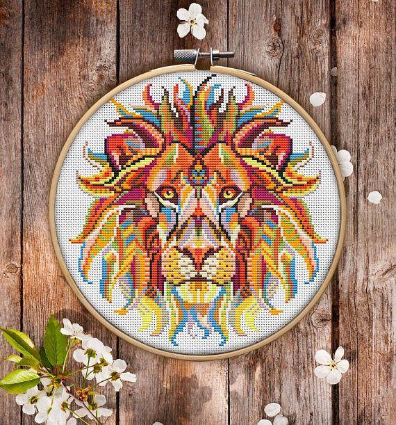 Mandala Lion Cross Stitch Pattern for Instant Download  222