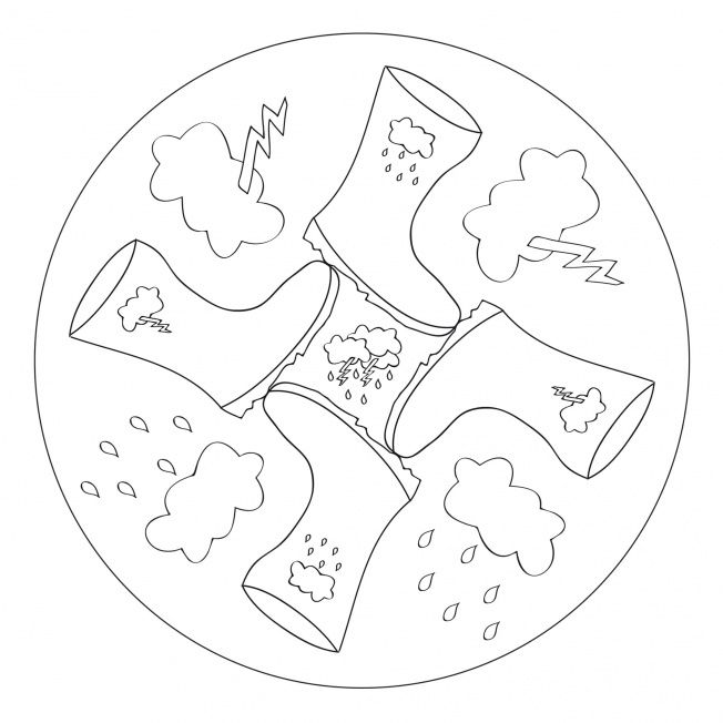 Rubber Boots Mandala for kids to print and color in as a rainy day activity! From www.kigaportal.com