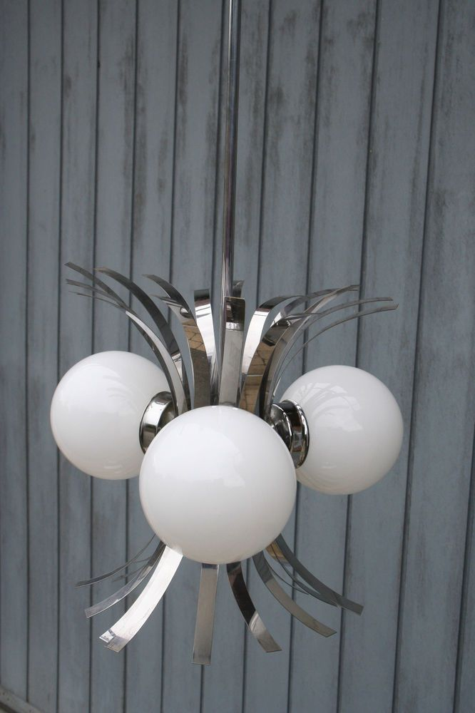 Retro 70's Mid century Chrome /3 glass globes sputnik pendant chandelier